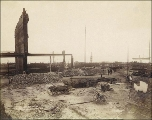 Aftermath of Seattle fire of June 6, 1889, looking west from between Columbia St. and Cherry St....