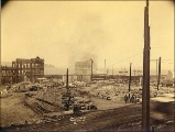 Aftermath of Seattle fire of June 6, 1889, looking west from 2nd Ave. and Cherry St., Seattle,...