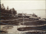 Buildings and grounds at Leschi Park on Lake Washington, Seattle, Washington, ca. 1890.