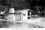 Rosemary Inn's Inglenook fireplace shelter on the shore of Lake Crescent, Clallam County, ca. 1930
