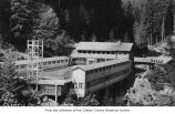 Olympic Hot Springs resort swimming pool, buildings and cabins, Clallam County, ca. 1930