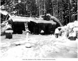 Herrick ranch log cabin after the snow in 1900 or 1901