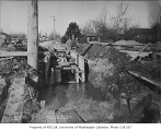 Drainage flume construction in North Bend, February 13, 1934