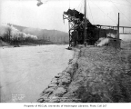 Sand bag levee along the Cedar River in Renton, December 27, 1933