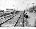 Street railroad workers on Elliott Ave. near Harrison St., Lower Queen Anne neighborhood, Seattle,...
