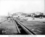 Railroad construction project at Pier 41 near Smith Cove, Magnolia neighborhood, Seattle, February...