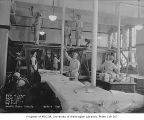 Ballard High School interior showing painters in a classroom, Ballard neighborhood, Seattle,...