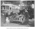 Street railroad car construction, probably King County,  January 19, 1934