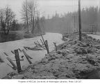 Cedar River bank sandbagged during flood, King County, December 27, 1933
