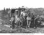 Crew with speeder no. 942, Willapa Harbor Lumber Company, Camp Burt, Raymond, ca. 1938
