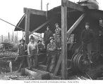 Logging crew and donkey engine, Wood and Iverson Lumber Company, Hobart, n.d.