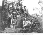 Logging crew and large log, Wood and Iverson Lumber Company, Hobart, n.d.
