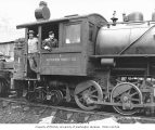 Crew with Wynooche Timber Company 0-6-4 side-tank locomotive no. 1, Montesano, ca. 1921
