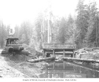 Crew with donkey engine and dam gate on stream, Wynooche Timber Company, ca. 1921