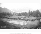 Civilian Conservation Corps Camp Darrington, showing barracks and basketball court, ca. 1937