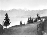 Lake Cushman and mountains from Camp Lake Cushman, Civilian Conservation Corps, Hoodsport, ca. 1937
