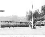 Members of Company 294 at flag ceremony, Civilian Conservation Corps, Camp Twanoh, Belfair, 1936