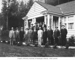Schafer Brothers Logging Company foremen in suits outside a house, probably in Grays Harbor...