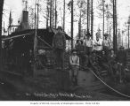 Loggers and donkey engine, National Lumber and Manufacturing Company, Cedarville, ca. 1923