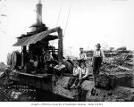 Loggers with donkey engine, National Lumber and Manufacturing Company, probably in Grays Harbor...