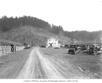 Automobiles parked at logging camp, Clemons Logging Company, 1926
