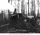 Loggers and donkey engine, National Lumber and Manufacturing Company, Callow, ca. 1923