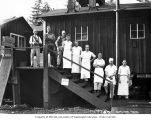 Cooks and other logging camp personnel, Mumby Lumber and Shingle Company, possibly in Grays Harbor...