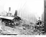Loggers and donkey engines, Mumby Lumber and Shingle Company, possibly in Grays Harbor County, ca....