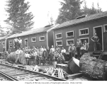 Logging crew at Donovan-Corkery Logging Company railroad camp no. 2, ca. 1928