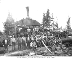 Logging crew and donkey engine, Donovan-Corkery Logging Company railroad camp no. 2, ca. 1928