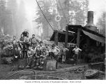 Donkey engine and loggers, Schafer Brothers Logging Company, probably in Grays Harbor County, n.d.