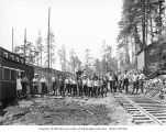 Loggers and mess hall crew at Schafer Brothers Logging Company camp 2, probably in Grays Harbor...