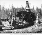 Crew with donkey engine, camp 6, Puget Sound Mill and Timber Company, near Twin, ca. 1922