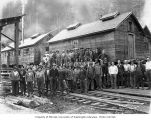 Loggers and mess hall crew, camp 7, Schafer Brothers Logging Company, probably in Grays Harbor...