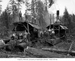 Two donkey engines and crew, camp 8, Schafer Brothers Logging Company, Brady, n.d.