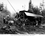 Loggers and donkey engine at camp 7, Schafer Brothers Logging Company, Brady, n.d.