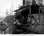 Crew with donkey engine at camp 6, Schafer Brothers Logging Company, Brady, n.d.