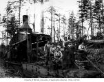 Donkey engine and loading crew, Schafer Brothers Logging Company, probably in Grays Harbor County,...