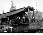 Donkey engine and crew, camp 8, Schafer Brothers Logging Company, probably in Grays Harbor County,...