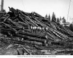 Loggers on cold deck, Schafer Brothers Logging Company, probably in Grays Harbor County, n.d.