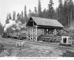Crew and guests with electric transfer log loader, skeleton railroad cars, and truck, Olympic...