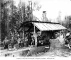 Donkey engine and crew, Vance Lumber Company, near Malone, ca. 1916