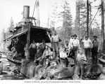 Crew with donkey engine, camp 7, Simpson Logging Company, Grays Harbor County, ca. 1928