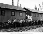 Loggers and mess hall crew, camp 15, North Western Lumber Company, near Vesta, n.d.