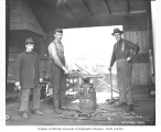 Blacksmith shop and crew, Danaher Lumber Company, ca. 1916