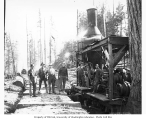 Logging crew and donkey engine, Danaher Lumber Company, ca. 1916