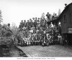 Loggers and mess hall crew at railroad logging camp, Saginaw Timber Company, near Saginaw, n.d.
