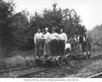 Logging crew on two hand cars, Saginaw Timber Company, possibly in Grays Harbor County, n.d.