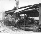 Donkey engine and crew, Saginaw Timber Company, possibly in Grays Harbor County, n.d.