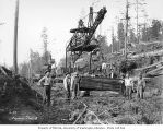 Track gang with railroad track laying crane, Saginaw Timber Company, possibly in Grays Harbor...